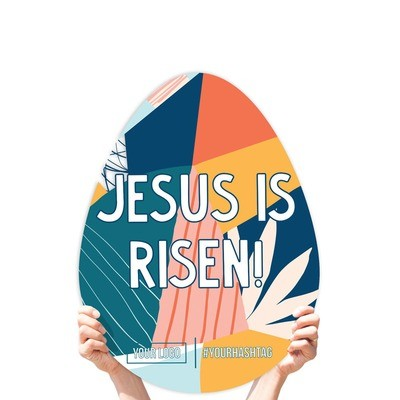"""Easter Greeting Sign - """"Jesus is Risen"""" (Vibrant)"""