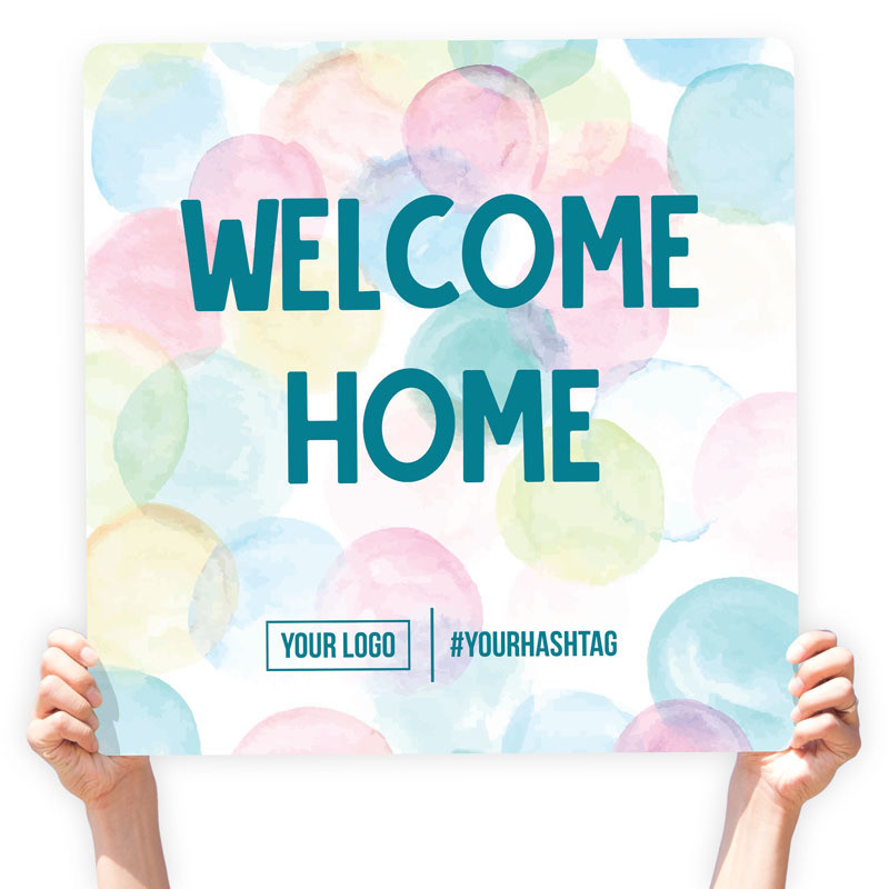"""Easter Greeting Sign - """"Welcome Home"""" (Watercolor)"""