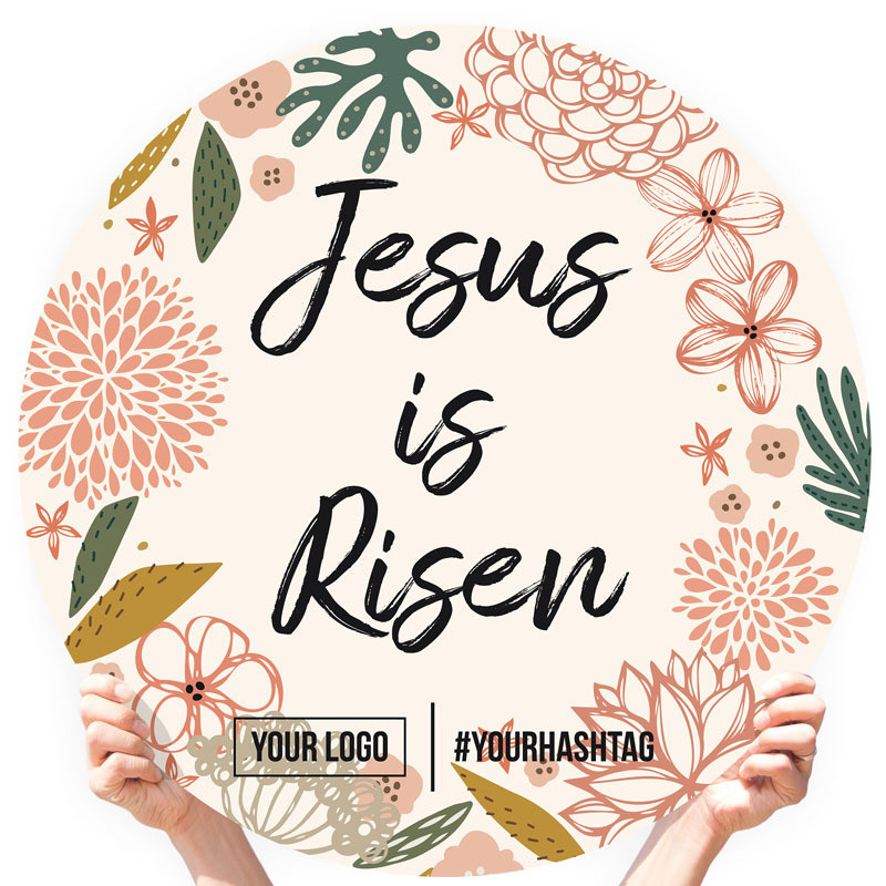"Easter Greeting Sign - ""Jesus is Risen (Western Floral)"