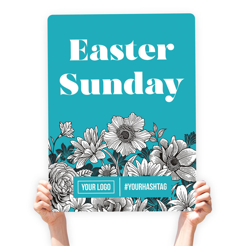 "Easter Greeting Sign - ""Easter Sunday"" (White Floral)"