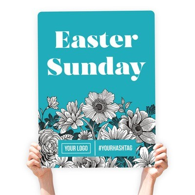"""Easter Greeting Sign - """"Easter Sunday"""" (White Floral)"""