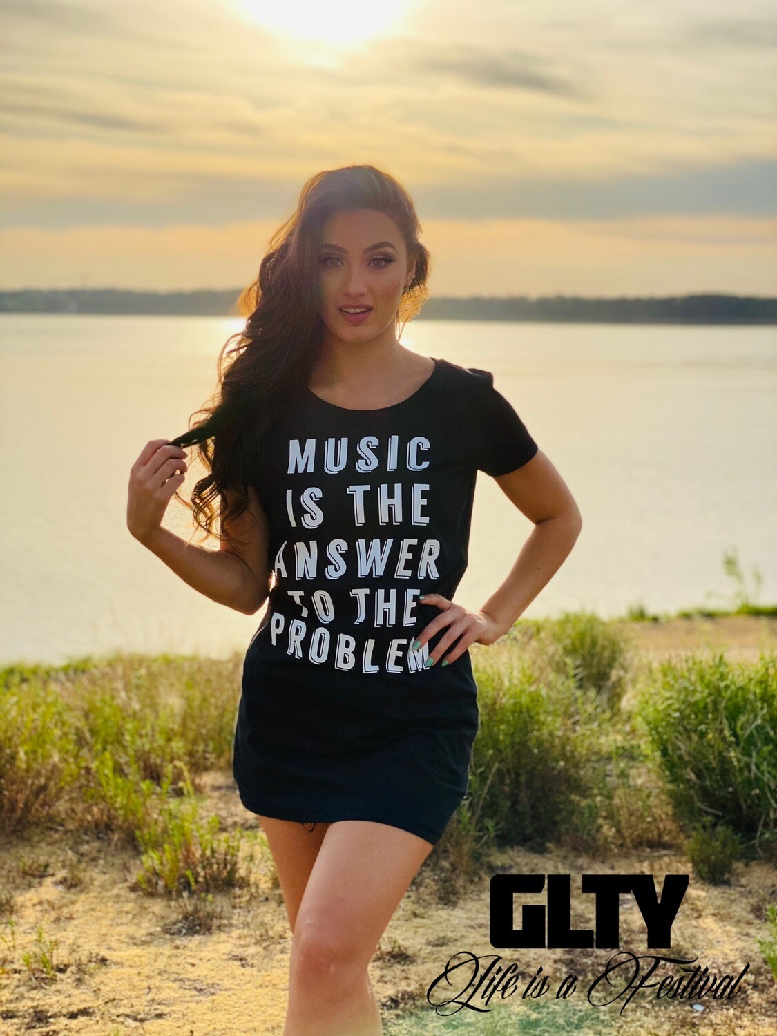 "T-shirt Dress ""Music Is The Answer"""