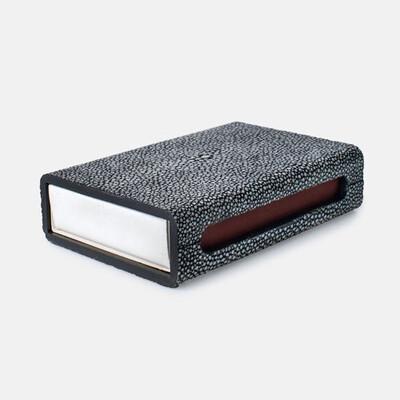 Cool Grey Faux Shagreen Matchbox