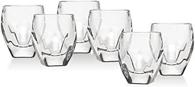 Set Of 6 Clear Shots On tray