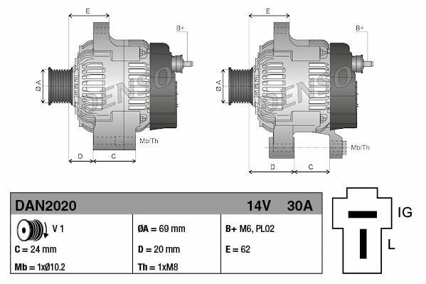 Kubota alternator Everkraft ADE1012 DAN2020