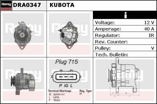 Kubota alternator Everkraft ADE1002 DRA0347