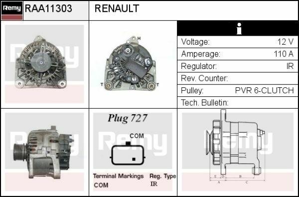 Renault alternator Valeo TG11C069 DRA0292