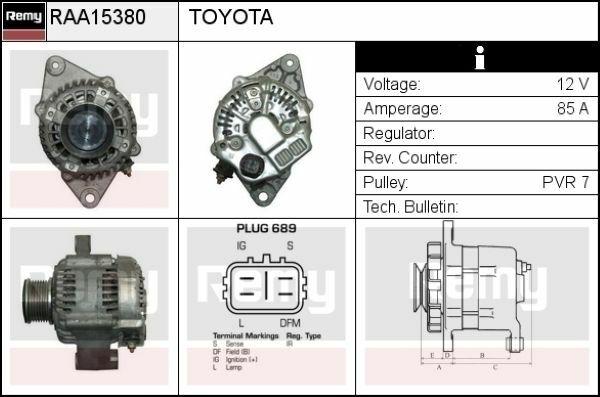 Toyota  alternator Cargo 114024 DRA4279