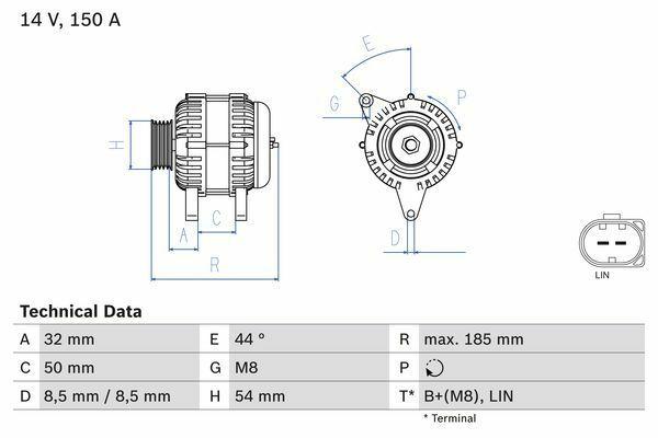 Mercedes alternator Bosch 0125711054 DRA1065