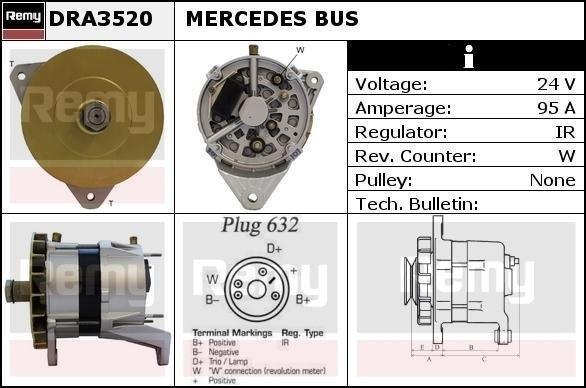 Alternator Mercedes Bus Bosch 0120689532 Z DRA3520 DRA3520