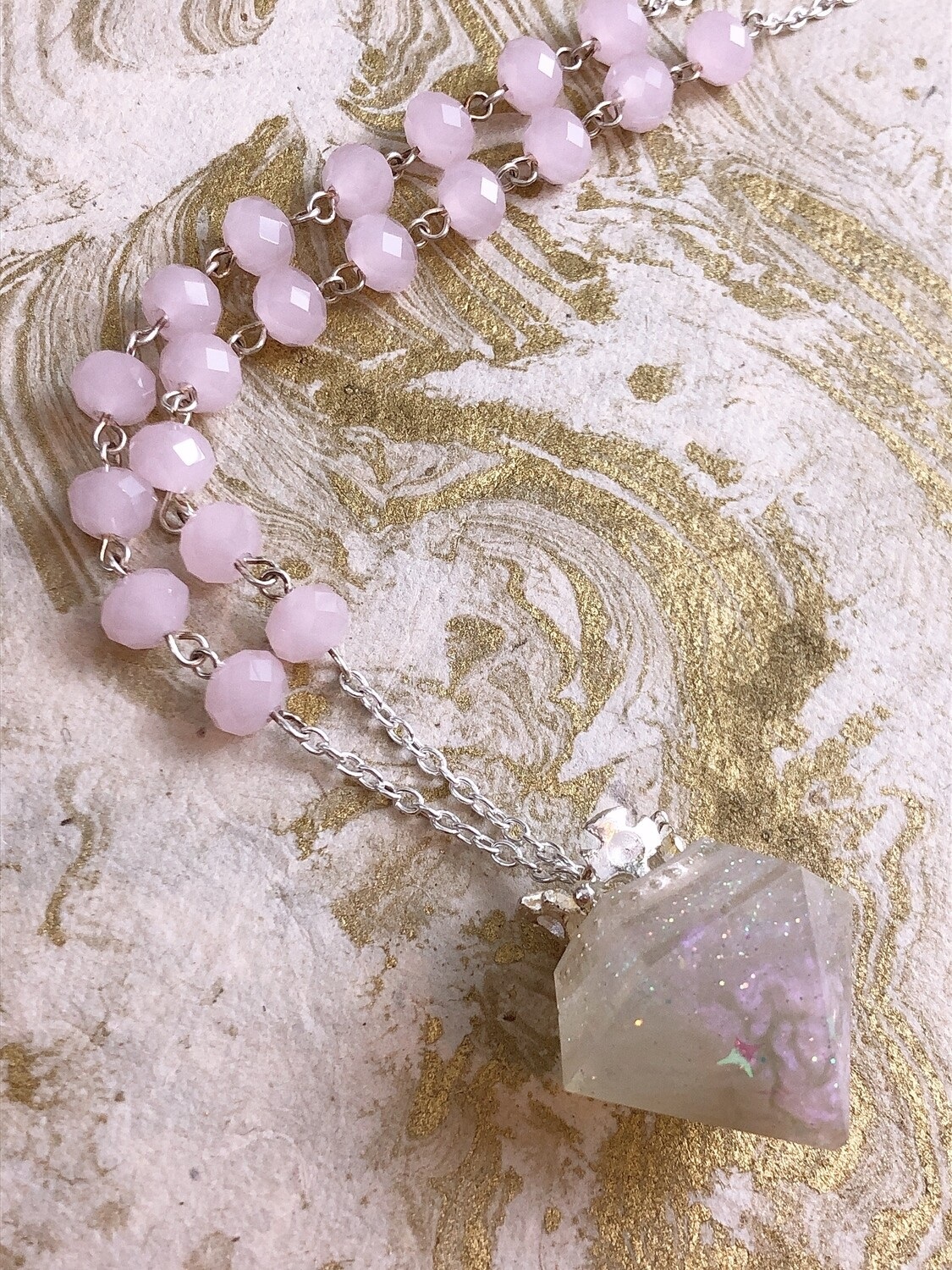 crowned jewel necklace (pink galaxy)