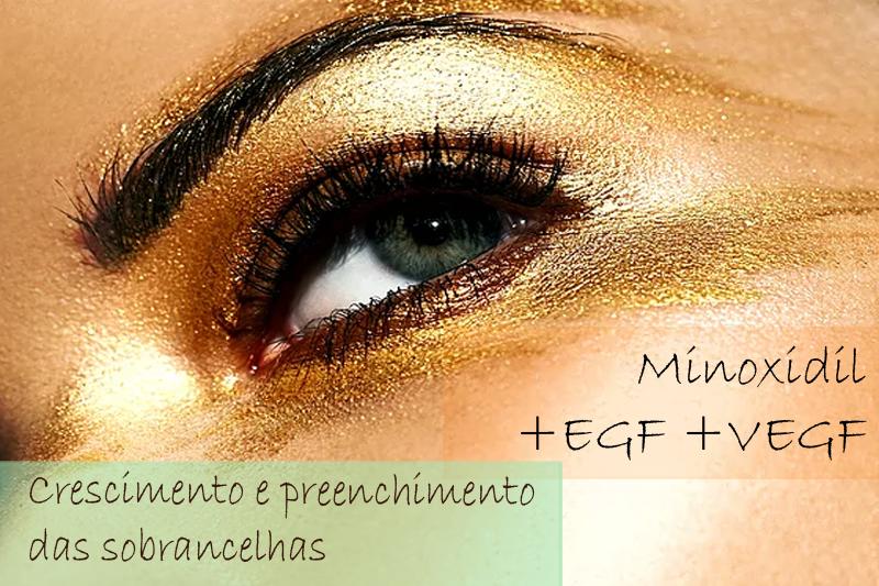Solução para sobrancelhas - Minoxidil 5%; EGF 2%; VEGF 2% - Roll-on