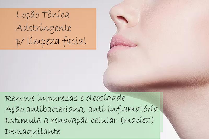 Loção Tonica Adstringente para limpeza facial - Solução