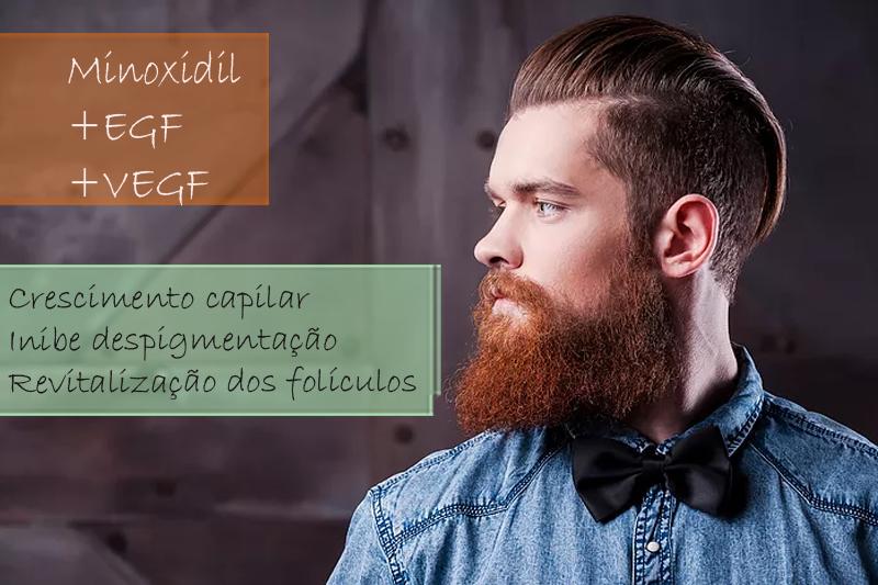 Minoxidil 5%; EGF 1%; VEGF 1% - Solução