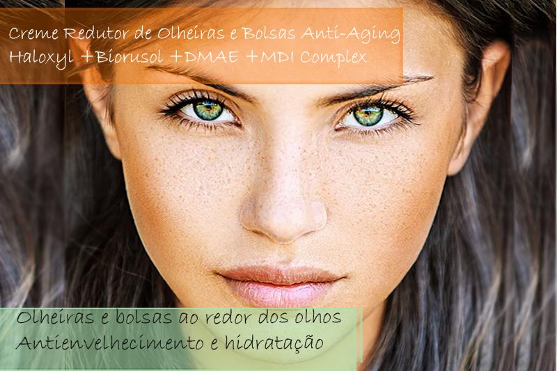 Creme Redutor de Olheiras e Bolsas Anti-Aging/ Haloxyl 2%; Biorusol 5%; DMAE 5%; MDI Complex 2% - Creme