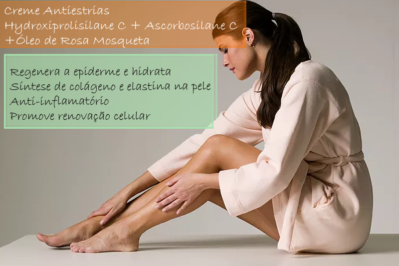 Creme Antiestrias com Hydroxiprolisilane C 4%; Ascorbosilane C 3%; Óleo de Rosa Mosqueta 5% - Creme