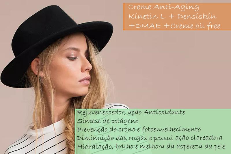 Creme Anti-Aging com Kinetin L 5%; Densiskin 2%; DMAE 5% - Creme oil free