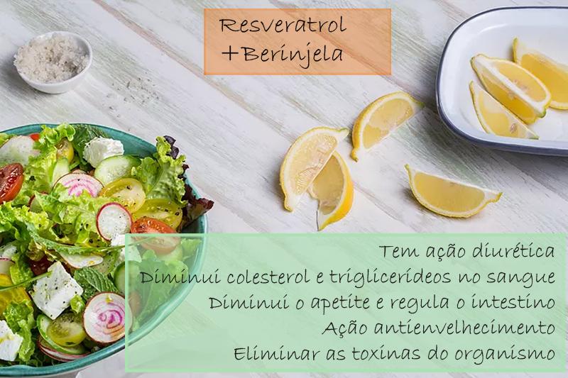 Resveratrol 20mg; Berinjela extrato seco 300mg - Cápsulas