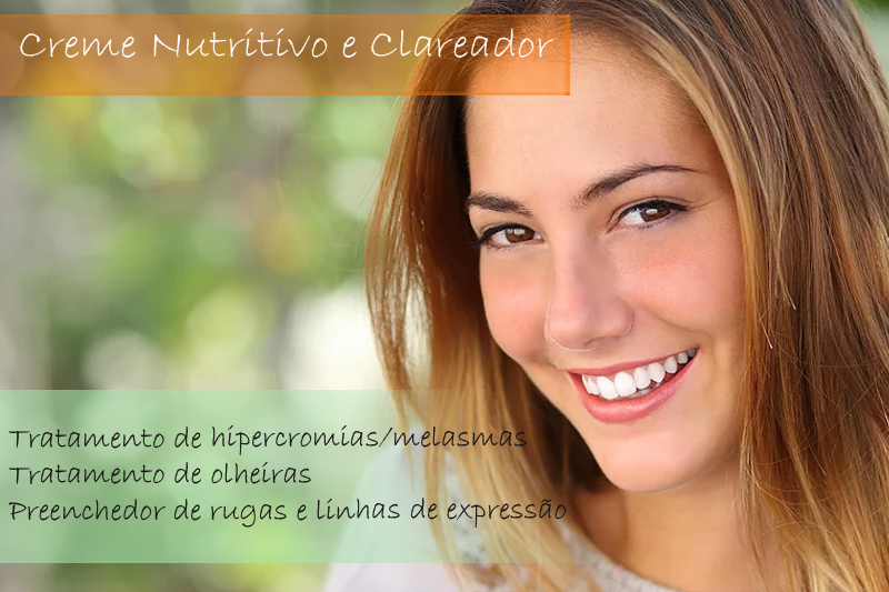 Creme Nutritivo com Skin Whitining complex, Elastinol, Whitessence, Lipossomas vit.A, Argireline e Acido hialuronico - Creme
