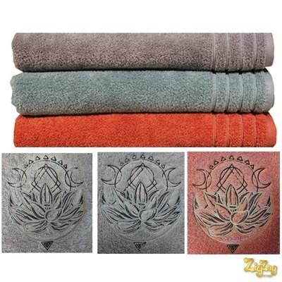 Serviette BIO invité, douche, bain avec Lotus brodé