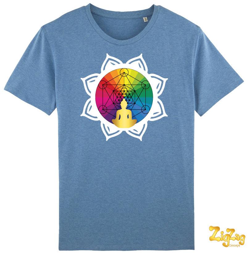 """T-shirt Homme BIO """"bien-être"""" avec motif Métatron/Lotus"""