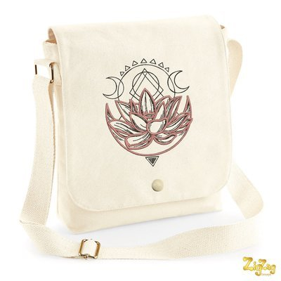 Sac Messenger (3 tailles) brodé Lotus