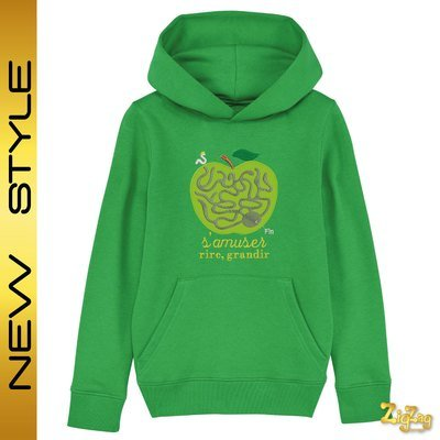 Sweat capuche BIO enfant brodé