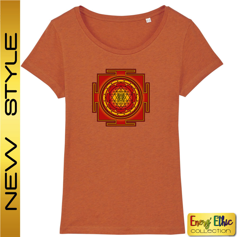 """T-shirt femme BIO """"bien-être"""" motif Sri Yantra"""