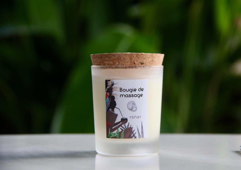 Bougie de massage aux plantes de Martinique - Bois d'Inde
