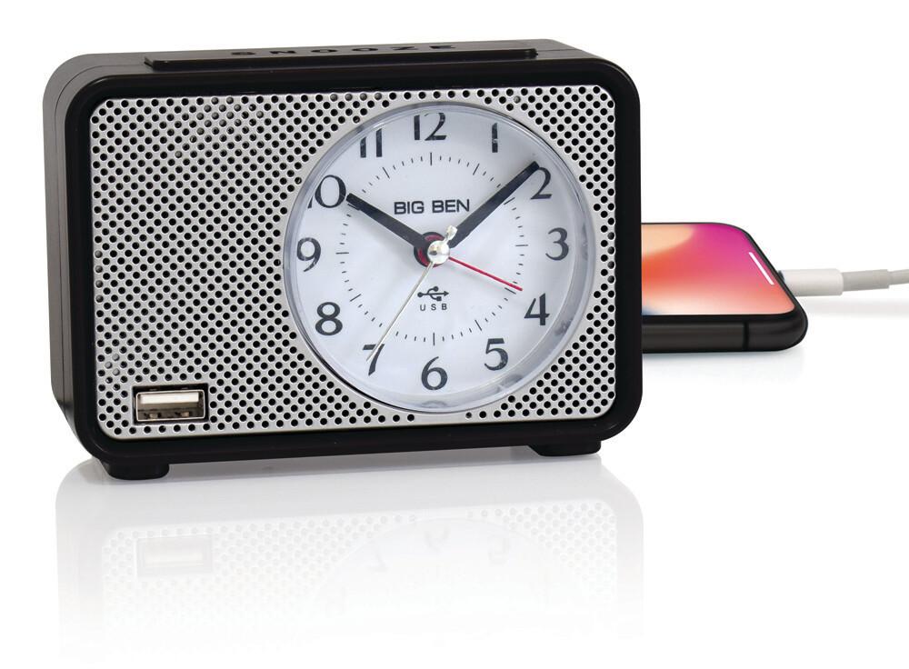 Big Ben Lighted Dial Analog Alarm Clock with Charging Port