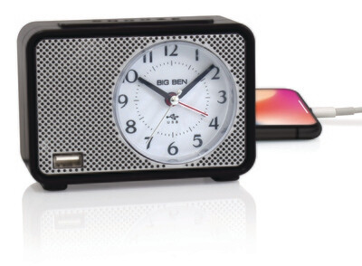 Big Ben Lighted Dial Analog Alarm Clock with Charging Port