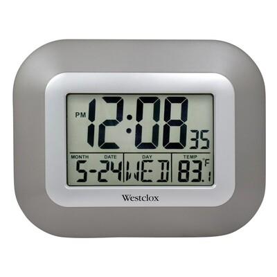 LCD Square Alarm Wall Clock, Silver