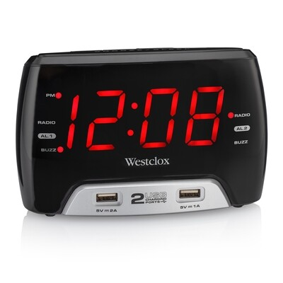 """Westclox Large 1.4"""" red LED Digital FM Clock Radio 2 USB Charging Port with Fast Charge"""
