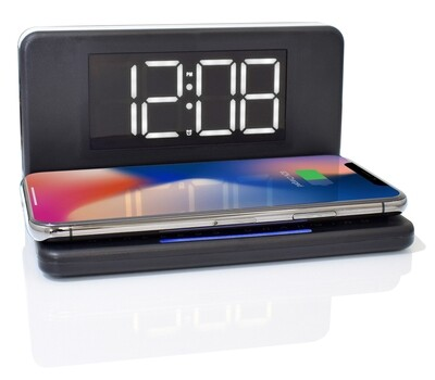 Westclox Qi Certified Fast Smartphone Wireless Charging Black Digital Alarm Clock with Dimmable LED Night Light