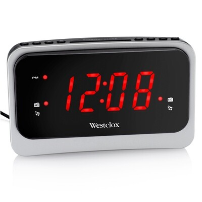 """Westclox Soothing Nature Sounds / FM Clock Radio with Large 1.4"""" Red LED Display & USB Charging Port"""