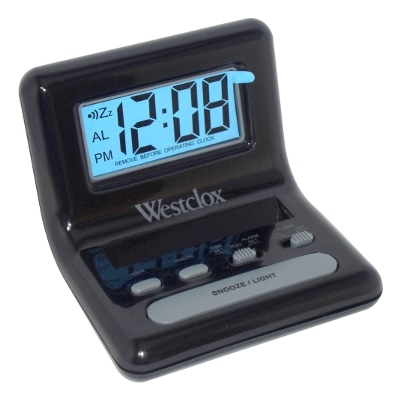 Westclox Celebrity Glo-Clox Black Compact Travel Alarm Clock 47538A