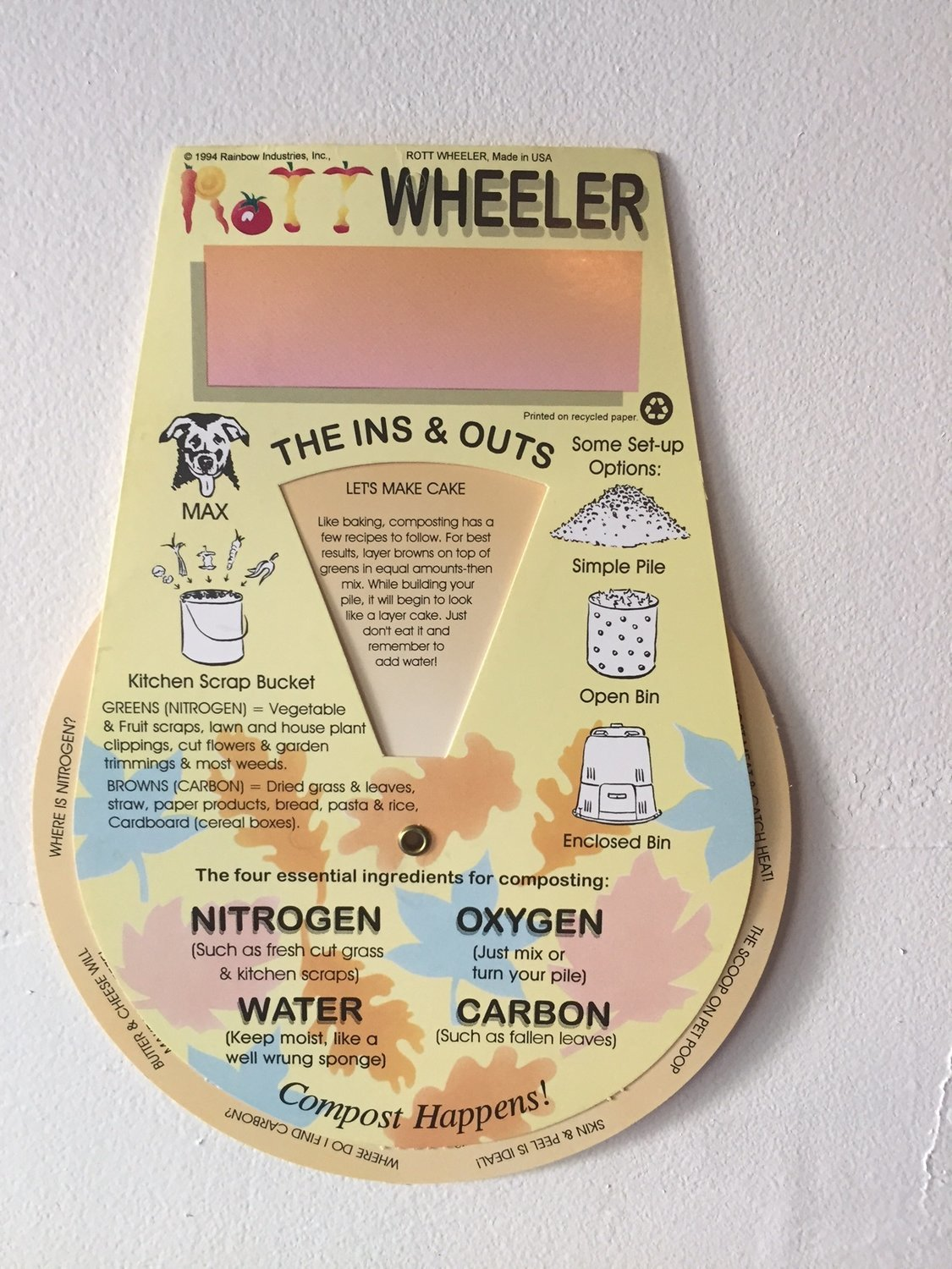 Rottwheeler - educational guide wheel *Included with each compost bin.