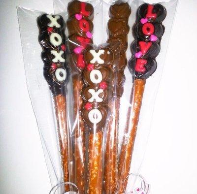 Valentines Chocolate Covered Pretzels - Half dozen (6)