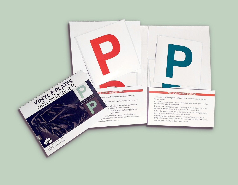 Vinyl P Plates with reflective P