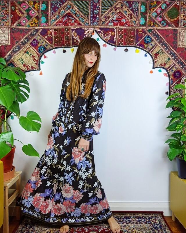 JAPANESE FLOWER GARDEN MAXI DRESS
