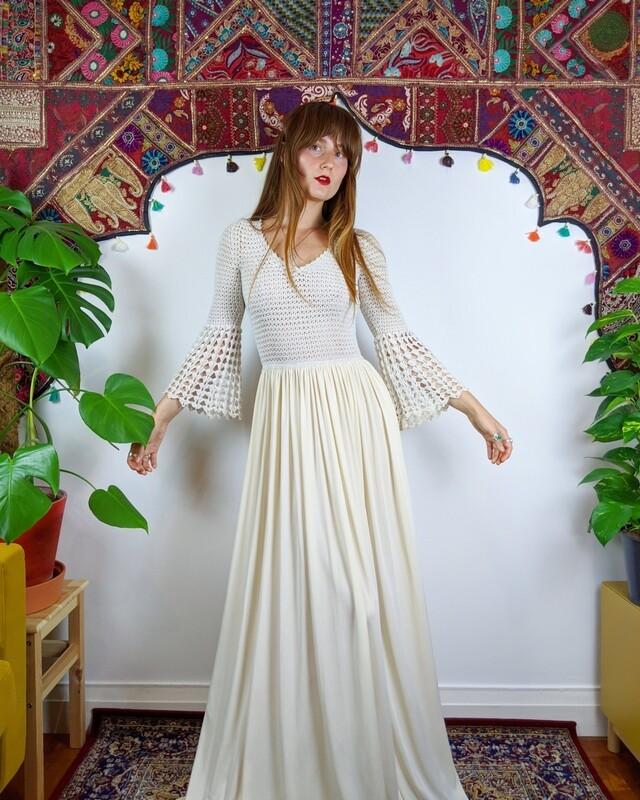 LOVE BY THE MOON CROCHET MAXI DRESS