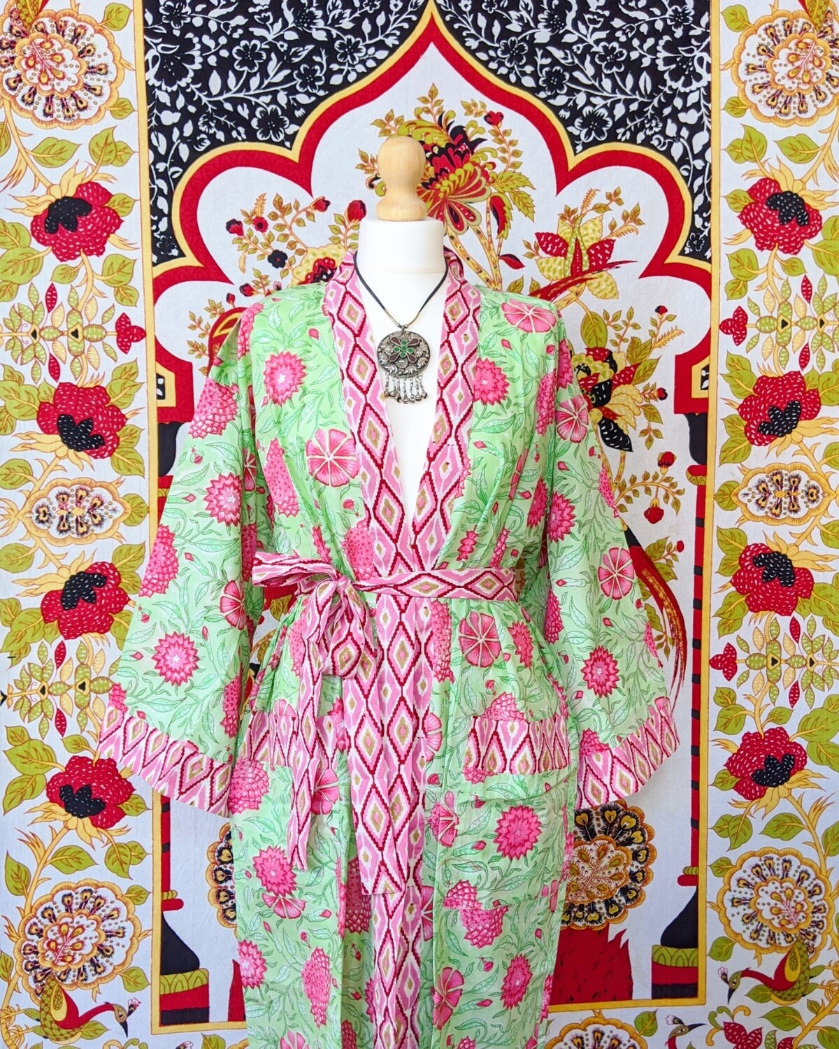 ✻ PEPPERMINT ✻ BLOCK PRINT ROBE