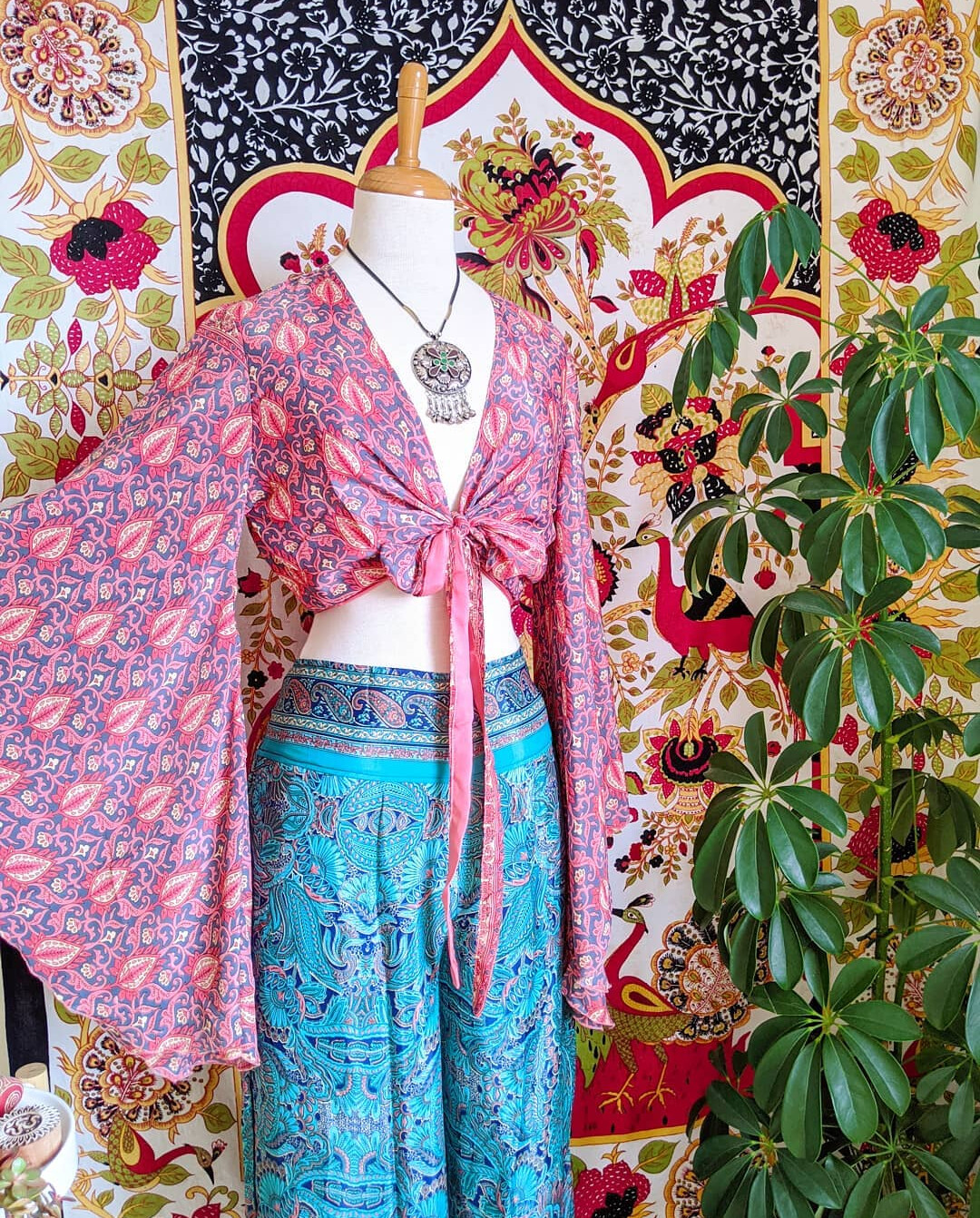RECYCLED INDIAN SILK FLARES (M/L)