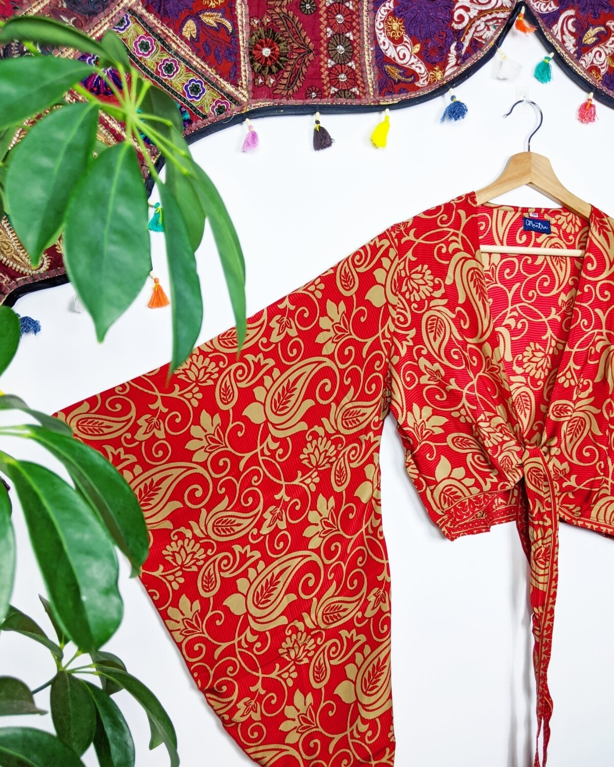 RED GOLD PAISLEY RECYCLED SARI SILK WRAP TOP (S/M)