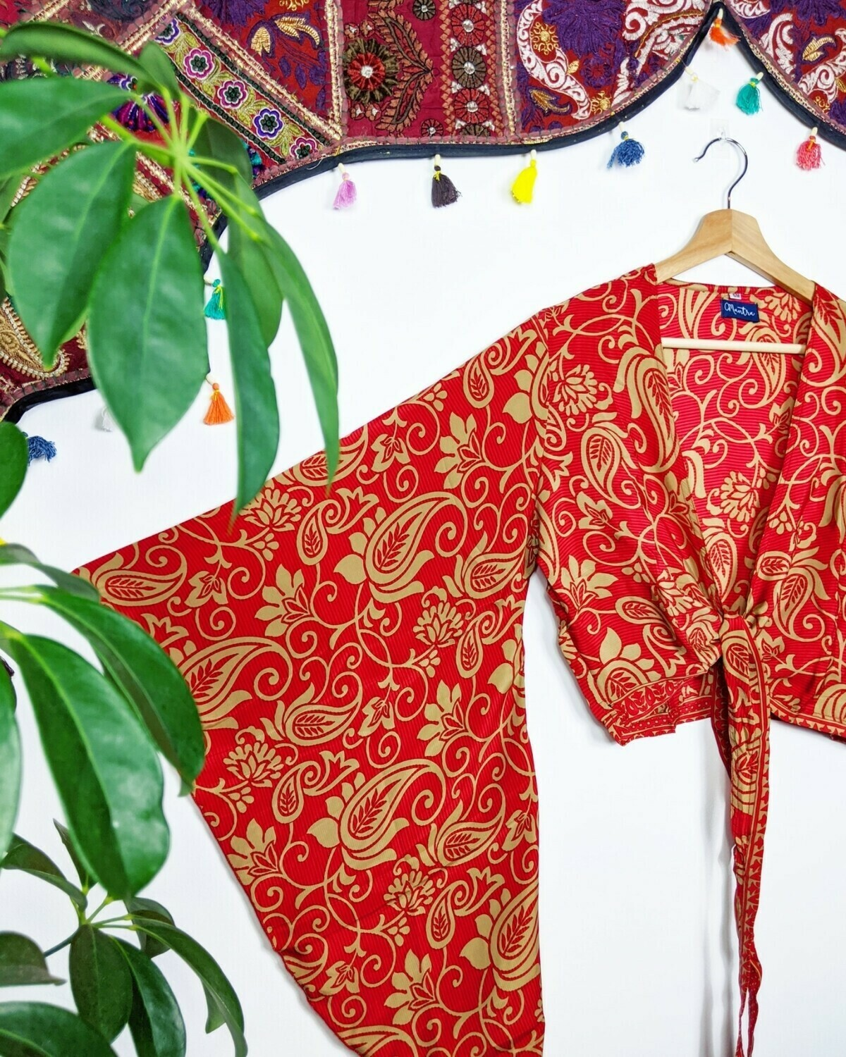RED GOLD PAISLEY RECYCLED SARI SILK WRAP TOP (M/L)