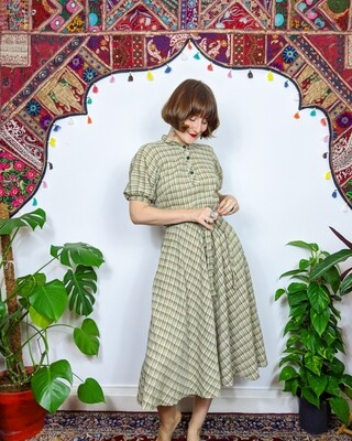 VINTAGE GINGHAM CHEESECLOTH DRESS