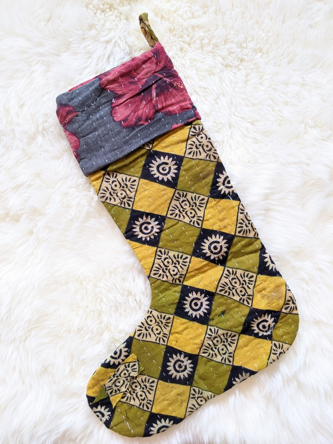 RECYCLED KANTHA STOCKING