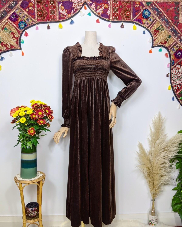 VINTAGE CHOCOLATE VELVET SINCLAIR MAXI DRESS