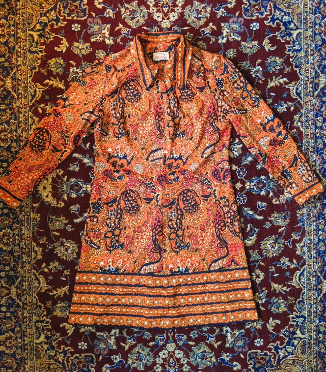VINTAGE ST MICHAEL PSYCHEDELIC MINI DRESS