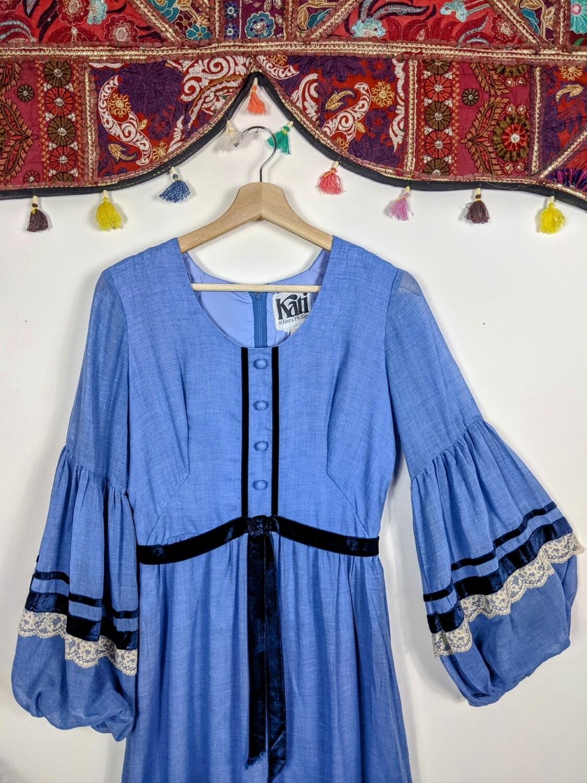 VINTAGE KATI BLUE BALLOON SLEEVE MAXI DRESS